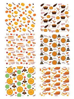 手繪卡通感恩節食物南瓜火雞底紋