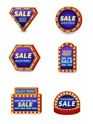 黑五霓虹灯牌促销标签装饰元素
