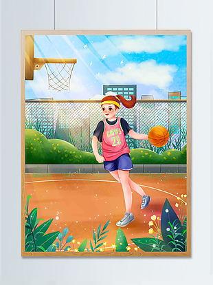 假日籃球場打籃球鍛煉身體插畫