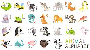 兒童英文字母卡通動物圖集