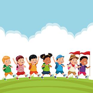 兒童卡通人物遠足郊游