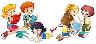 手繪卡通兒童閱讀圖集