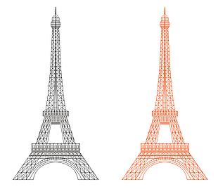 巴黎鐵塔 埃菲爾鐵塔 鐵塔 矢量素材