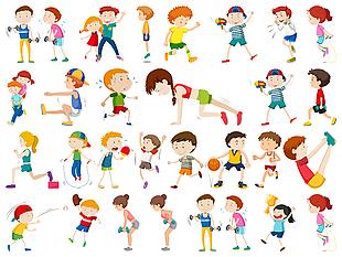儿童运动手绘素材图集