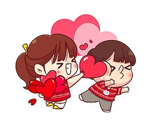 情人节手绘卡通心形