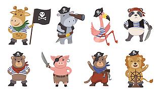 可愛手繪動物海盜元素圖集