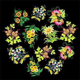 花+花朵+ 花瓣+矢量图花+手绘花