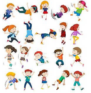 儿童小清新手绘卡通各式运动姿势