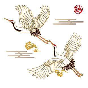 中国风仙鹤祥云