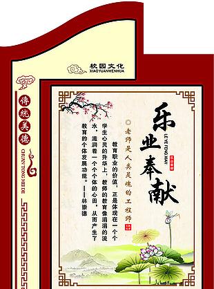 乐业奉献校园文化传统美德名句展板