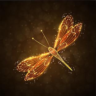 发光蜻蜓矢量素材