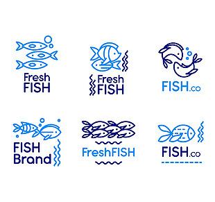 藍色魚標志矢量素材
