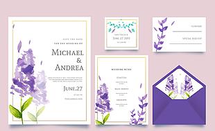 5款水彩繪紫色薰衣草婚禮卡片矢量圖
