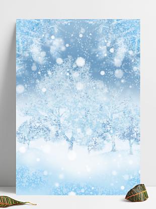 圣诞节冰雪树枝唯美背景