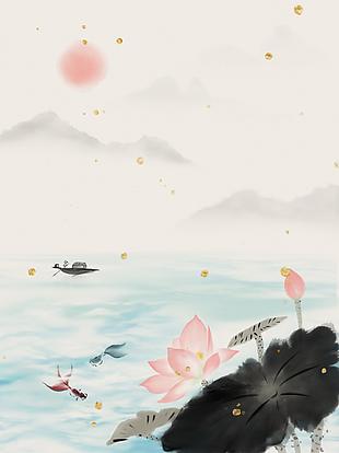 复古中国风水墨荷花背景