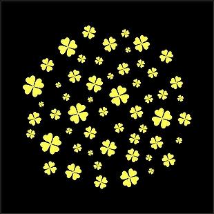四叶草 黄色四叶草 矢量图
