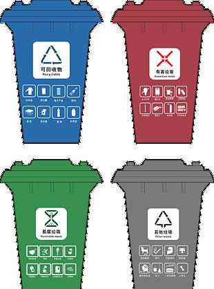 垃圾分类 垃圾分类标识 四色垃圾垃圾桶
