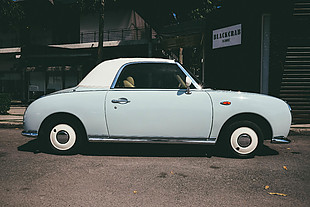 汽車 藍色小汽車 風景 城市