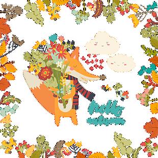 立秋金色小狐貍矢量插畫素材歐美