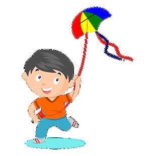 卡通小人放風箏