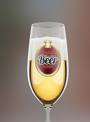 啤酒杯貼圖樣機效果圖