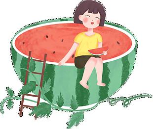 吃西瓜的女孩