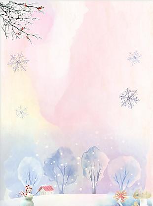 冬季雪地堆雪人