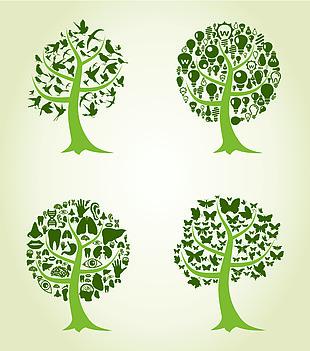 樹剪影在白色背景的矢量圖