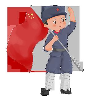 手拿紅旗敬禮的紅軍小戰士