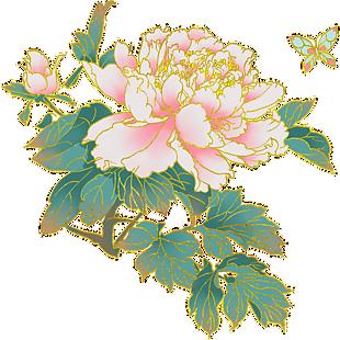 中國風手繪牡丹植物