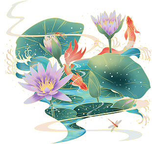 中國風手繪荷葉鯉魚