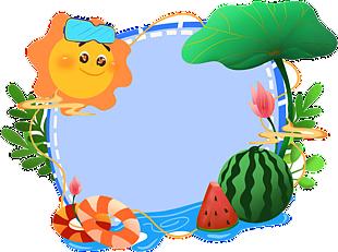 藍色游泳眼鏡太陽荷花邊框