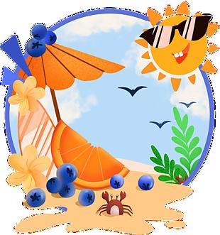 藍色沙灘太陽夏日邊框