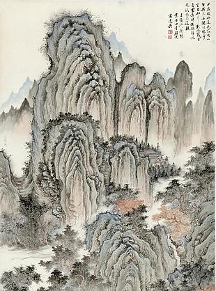 層巒幽寺圖|楊青辭國畫選