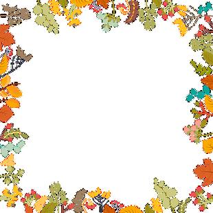 卡通手繪樹葉花紋邊框