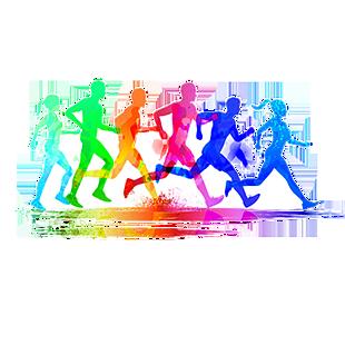 彩色起跑跑步的人設計素材