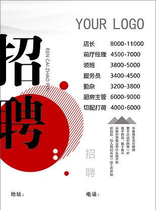 中式招聘海報