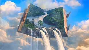 唯大氣動態創意書籍瀑布展示視頻美