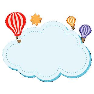 熱氣球白云手抄報邊框