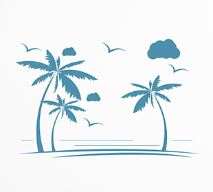 海邊椰子樹剪影