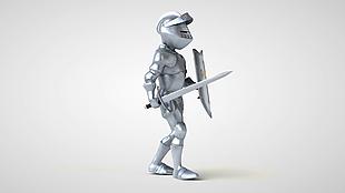 卡通銀色盔甲戰士行走動畫視頻素材